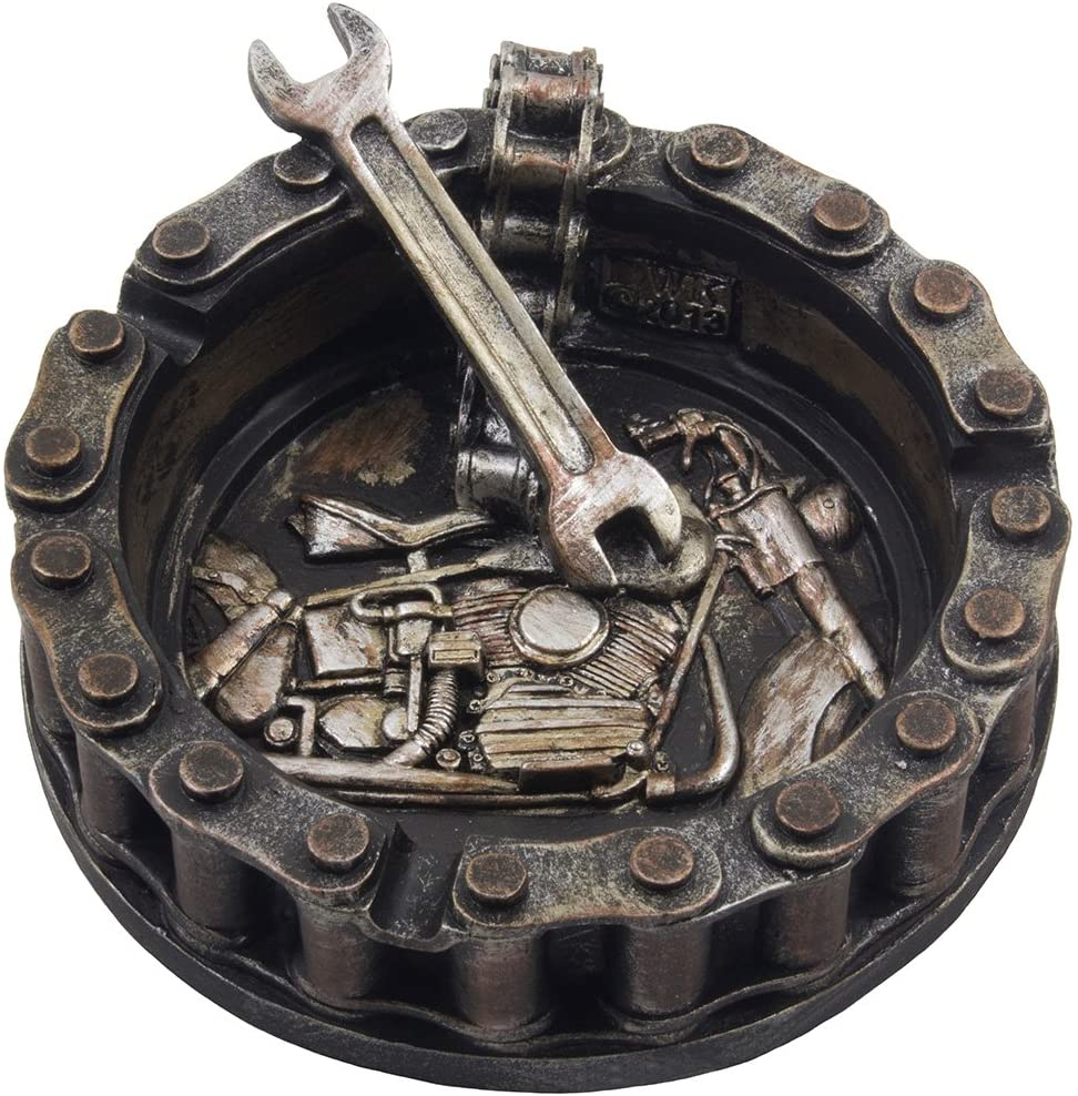 Decorative Motorcycle Chain Ashtray With Wrench And Bike Motif